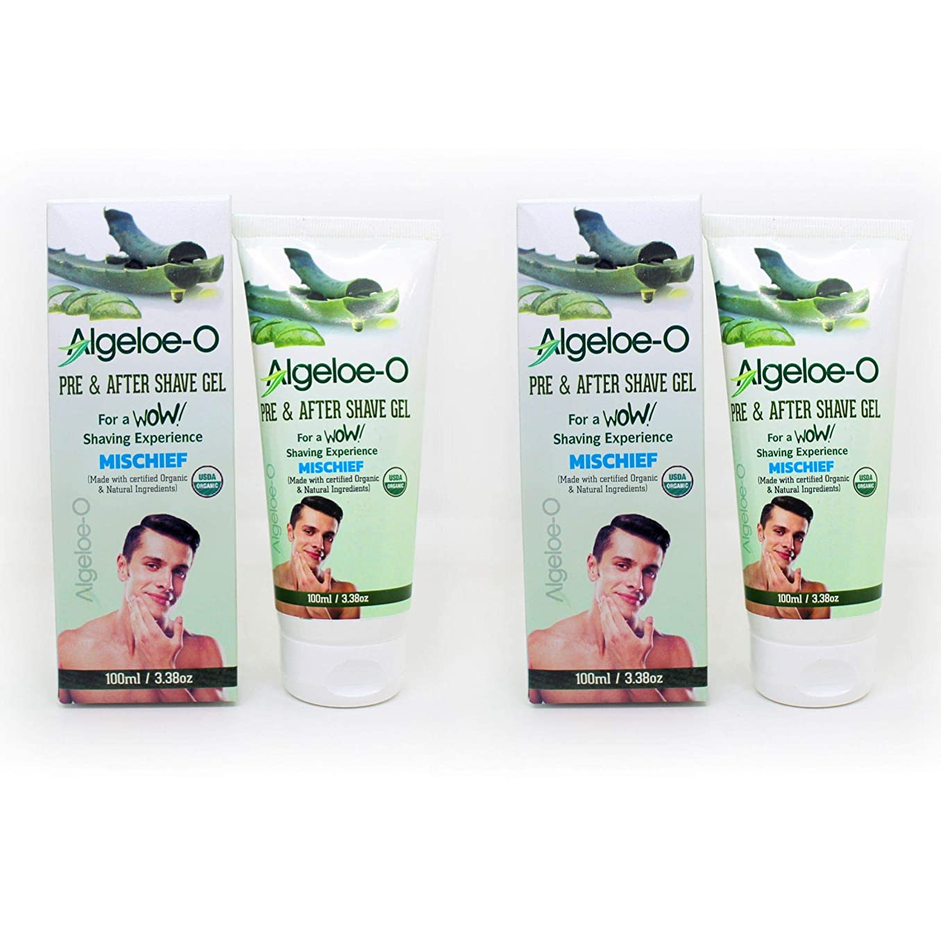 Aloevera Pre And After Shave Gel - Algeloe O Made With Certified USDA Organic And Natural Ingredients - Mischief 100 ml (3.38 Oz.) Pack Of 2