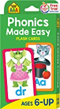 School Zone - Phonics Made Easy Flash Cards - Ages 6 and Up, Preschool to 2nd Grade, Short Vowels, Long Vowels, Word-Picture Recognition, and More
