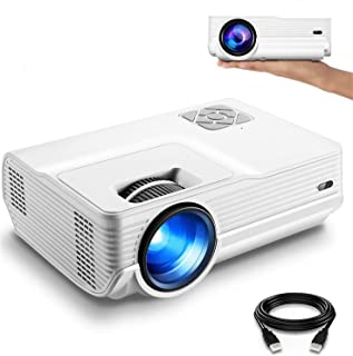 """FunLites 4600lux Portable Video Projector,Supported 1080P Outdoor Movie Projector with 200"""" Display 50,000 Hrs, LED HD Pro..."""