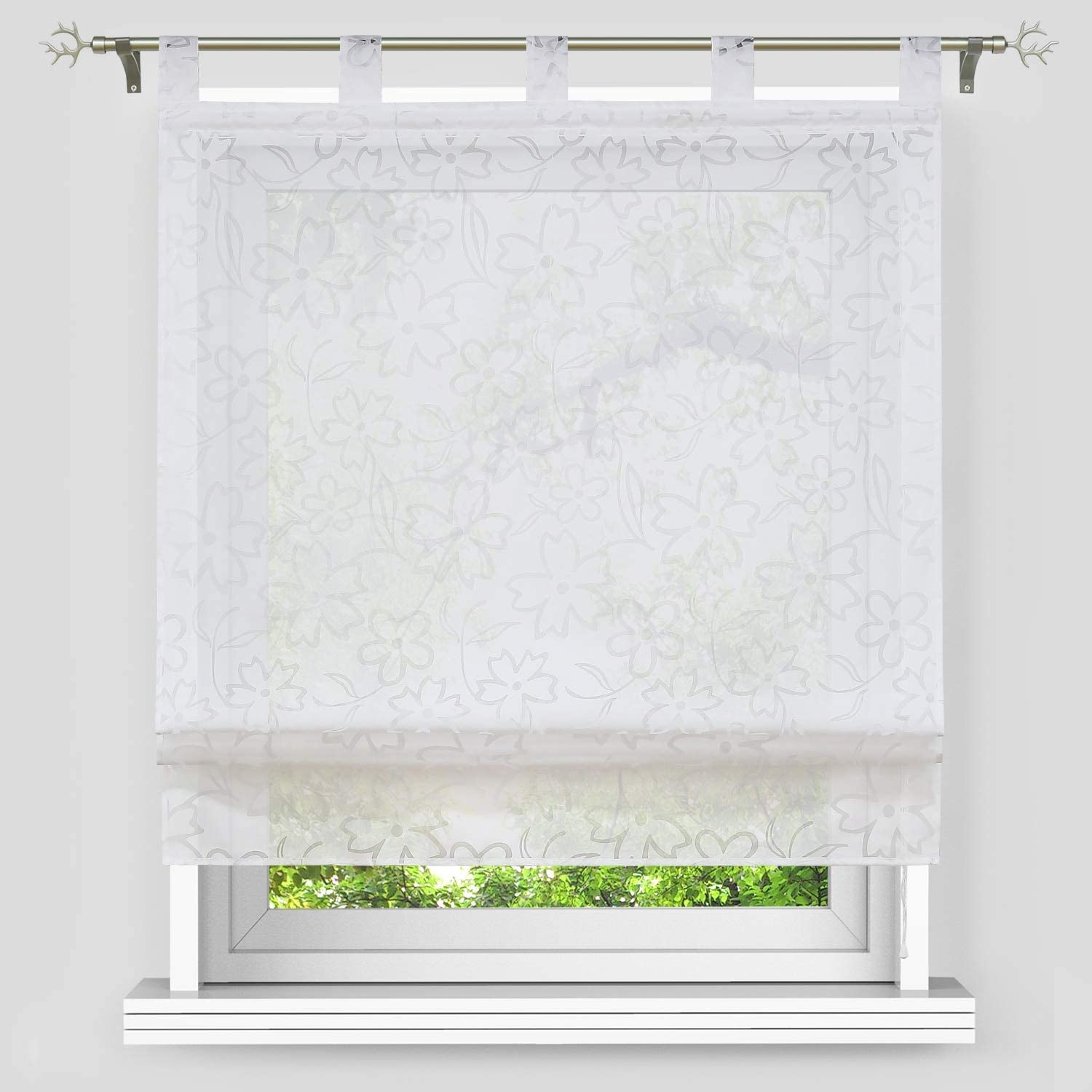 Yujiao Mao Voile Sheer Window Curtain Burnout Roman Shade Tab Top Adjustable Balloon Shades for Kitchen Bedroom Bathroom,1pc White,W23 x L55 inch