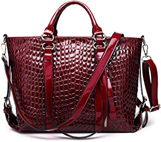 Fashion Women Fashion Solid Color Crocodile Pattern PU (Polyurethane) Leather Handbag Zipper Large Capacity Multi-Function Shoulder Bag Crossbody Bag Motorcycle Bag (Color : Red)