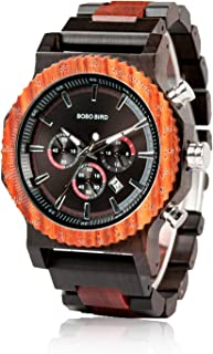 BOBO BIRD Mens Luxury Wooden Wrist Watches Large Size Date & Chronograph Display Ebony Watch with Bamboo Wood Box for Men