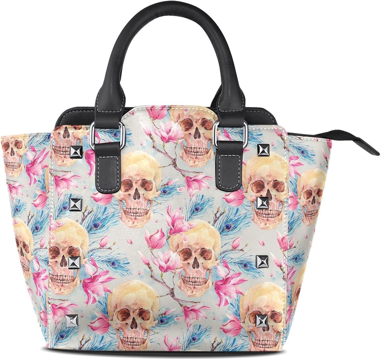 My Little Nest Women's Top Handle Satchel Handbag Vintage Watercolor Skulls Pattern Ladies PU Leather Shoulder Bag Crossbody Bag