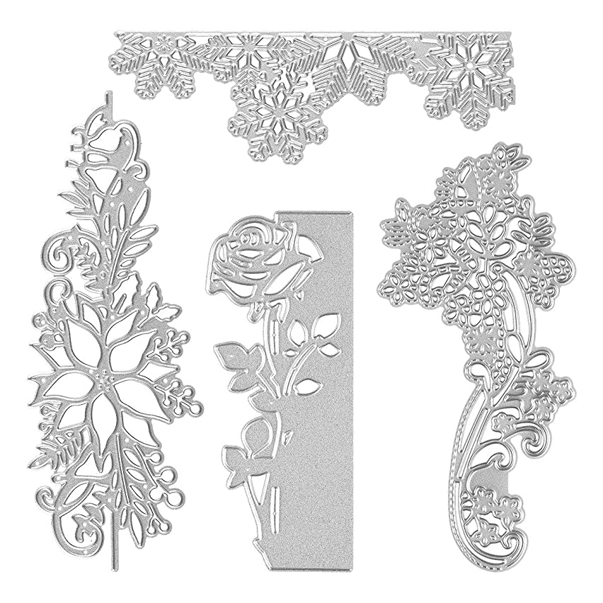 4 Set Rose Flower Cutting Dies, Embossing Stencil Cutter Templates for Scrapbooking Card Making DIY Craft
