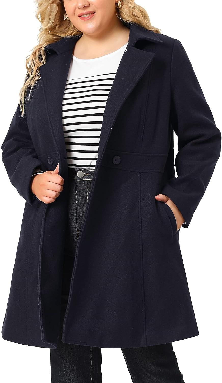 Agnes Orinda Plus Size Peacoat for Women Elegant Notched Lapel Single Breasted Trench Coat Jacket
