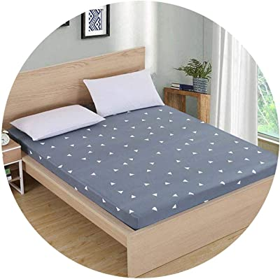 pleasantlyday Mattress Cover Linens On Elastic Band Flamingos Bed Sheet,Gray Triangle,200x220x25cm