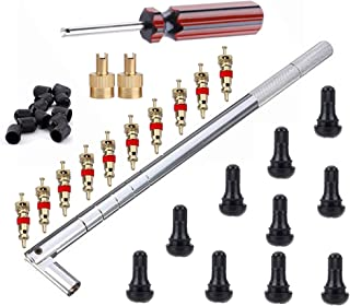 Tire Valve Stem Tool Remover & Installation Set- 6pcs Tire Snap in Short Rubber TR412 Valve Stem with Valve Stem Cores,Easily Replace Your Old Tubeless Valve Stems,Single Head Tire Valve Core Remover