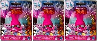Set of 3: DreamWorks Trolls Surprise Mini Figure Series 4 Blind Bag - Each Package includes 1 Mini Figure