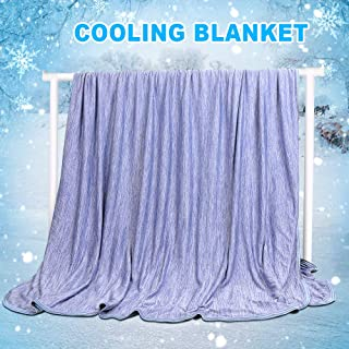 Cooling Weighted Blanket 59 X 79in Queen Sized Blanket, Japanese Q-Max 0.4 Technology Mica Nylon with Cooling Fibers Material Blanket for Adults, Children, Babies. Keep Cooling in Summer Night. (Blue)