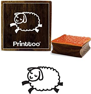 Printtoo Hand Draw Sleeping Sheep Design Diary Card Square Wooden Rubber Stamp-2 x 2 inches