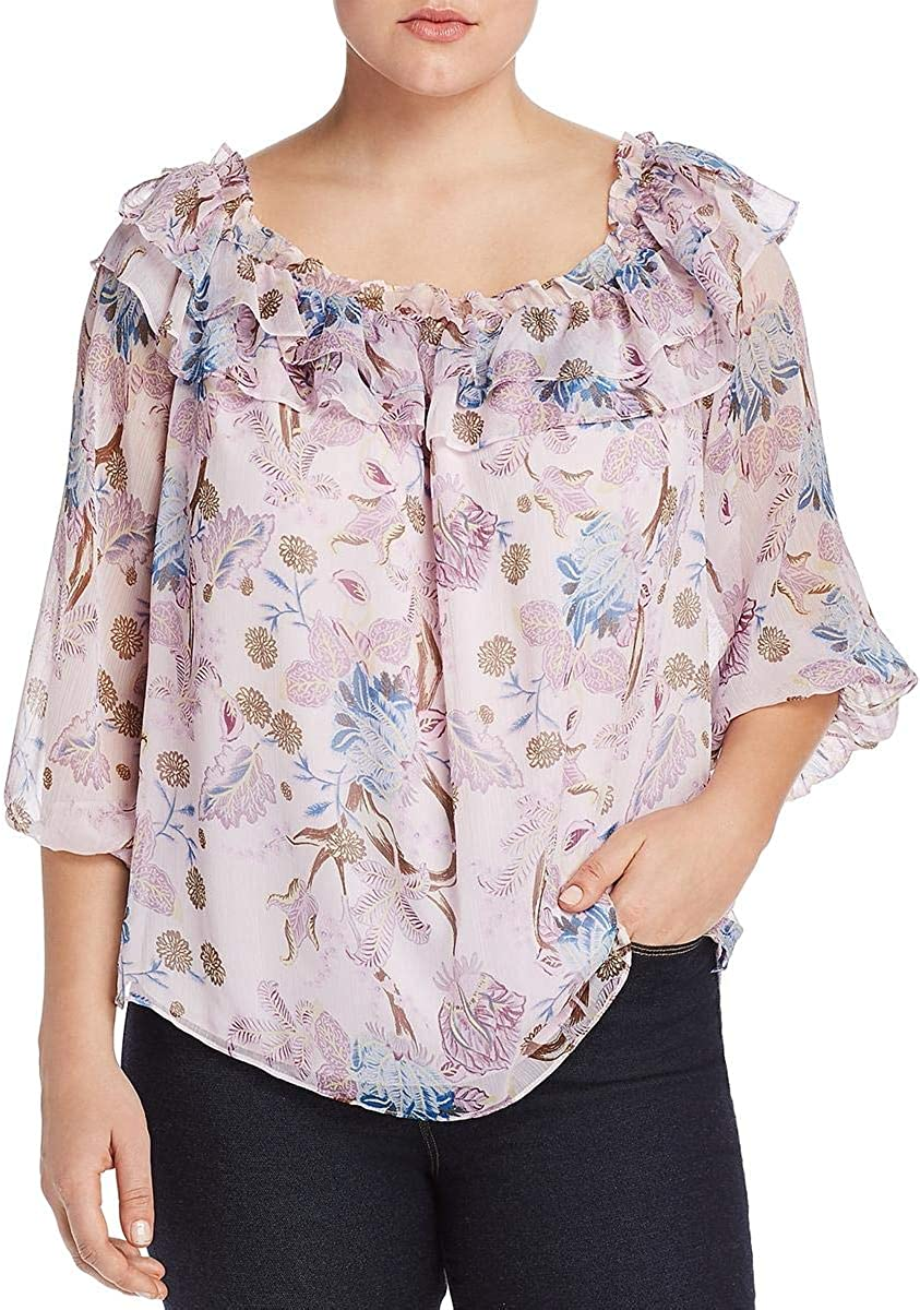 VINCE CAMUTO Womens Pink Floral Long Sleeve Off Shoulder Peasant Top Size 1X