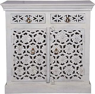 Consola oriental estrecha Hamada 90 cm blanco gris | Cómoda oriental vintage tallada a mano | Aparador rústico de madera |...