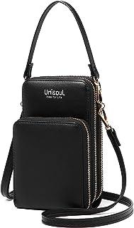 Handy Umhängetasche Damen, Leder Handytasche zum Umhängen Brieftasche Crossbody Geldbörse Klein mit Kartenfächer, Verstell...