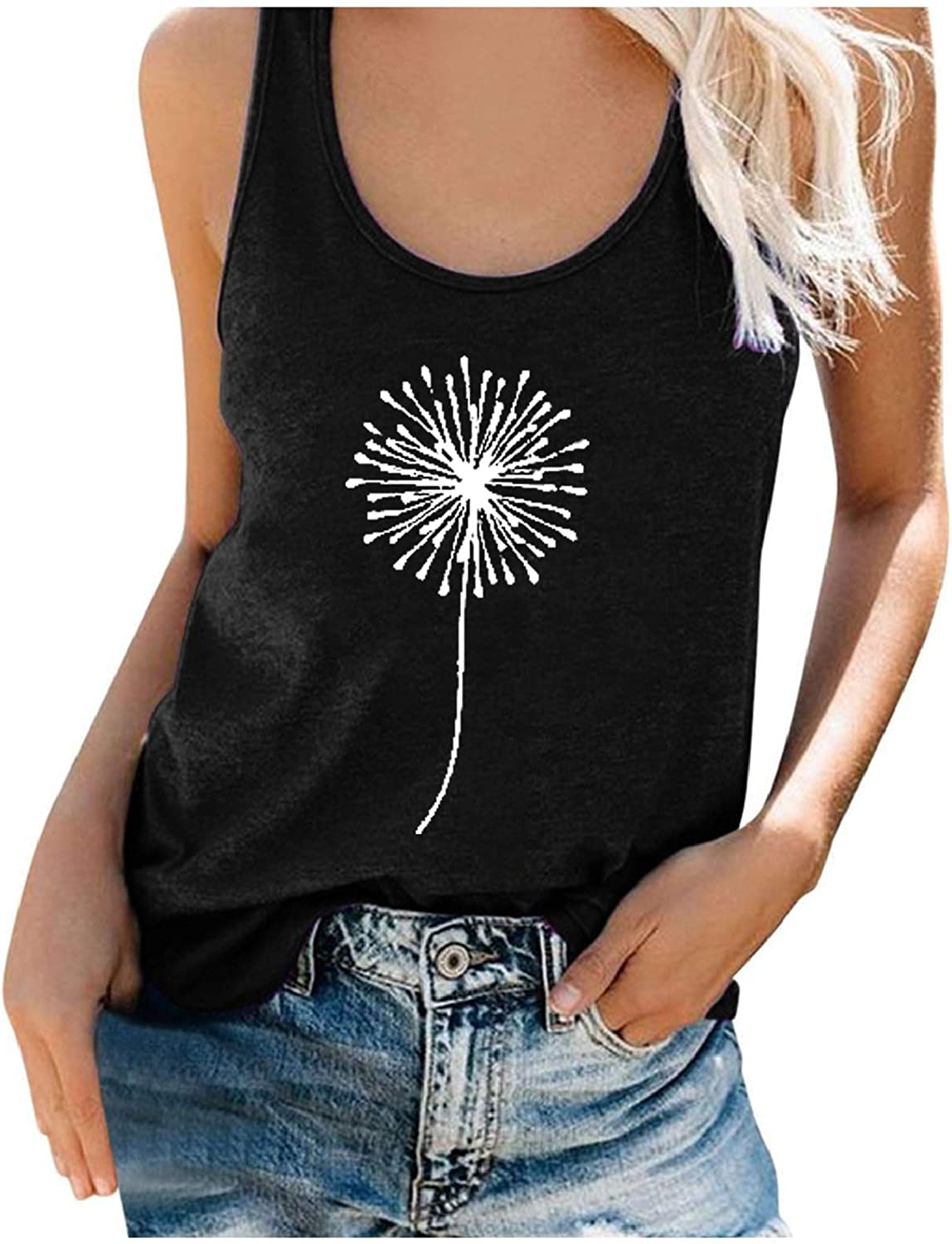 POLLYANNA KEONG Womens Tank Tops Scoop Neck Basic Solid Color Sunflower Graphic Casual Summer Sleeveless Shirts