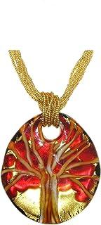 Venetiaurum - Collana per Donna con Medaglia Albero della Vita in Vetro di Murano e Argento 925 Placcato - Gioiello Made i...