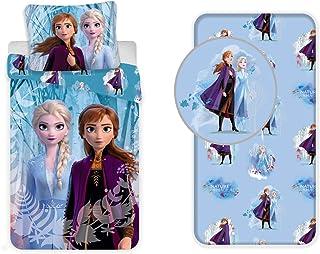 LesAccessoires Frozen - Juego de cama de 3 piezas, funda nórdica + funda de almohada + sábana bajera ajustable 100% algodón.