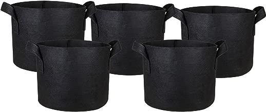 HONGVILLE 5-Pack Grow Bags/Aeration Fabric Pots w/Handles (1-Gallon, Black)