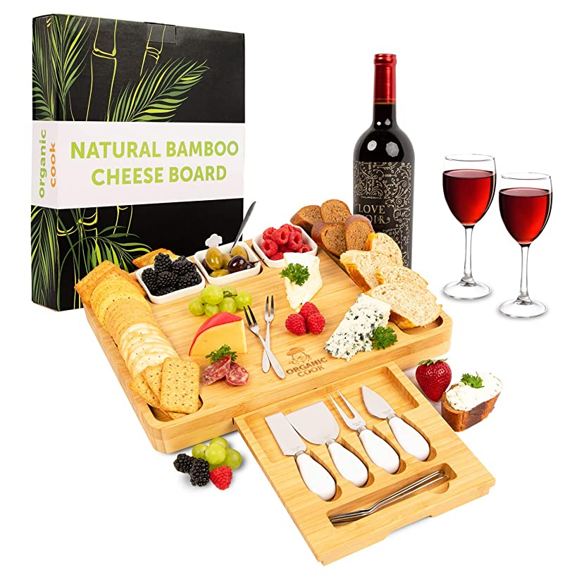 Cheese Board, Cheese Tray, Charcuterie Board: includes 4 Cheese Knives, 3 Ceramic Bowls, BONUS 6 Stainless Steel Forks, ideal Wedding Gifts, Wedding Gifts for the Couple
