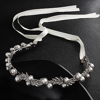 Ludage Aleación de novia tocado corona cabello aro perla diamante hoja cinta de pelo