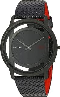 Titan Men's Edge Mineral Quartz Glass Slim Analog Wrist Watch- Ultra Slim with Metal/Leather Strap