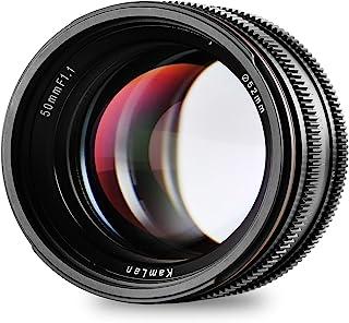 SainSonic Kamlan 50mm F1.1 APS-C Lente de Enfoque Manual de Amplia Apertura Lente Estándar Prime para Cámara sin Espejo EOS-M Mount Canon EOS M3 M2 M5 M6 M10
