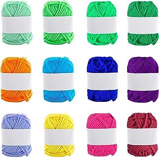 Colmanda Laine à Crochet, 12 Couleurs Fils de Coton, Coton a Crocheter Laine à Tricoter Coton Pelote de Laine à Crochet, K...
