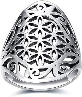 خاتم زهرة الحياة من HUKKUN فضية مخرمة الزهور فايريز باند خاتم 925 خواتم الفضة الاسترليني للنساء