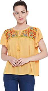 AASK Womens Mustard Color Embroidered Viscose Rayon Top (US_1342)