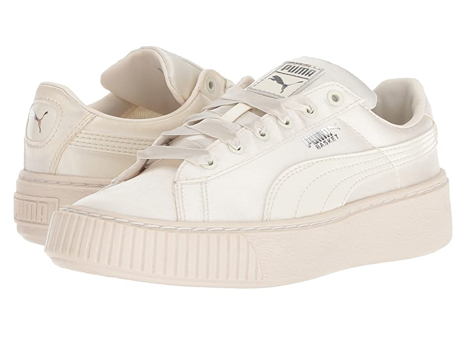 Puma Kids Basket Perform Tween (Little Kid) (Whisper White/Whisper White) Girls Shoes