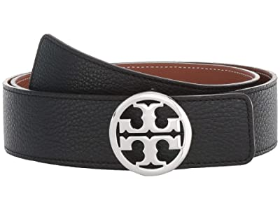 Tory Burch 1.5 Reversible Logo Belt (Black/New Cuoio/Silver) Women