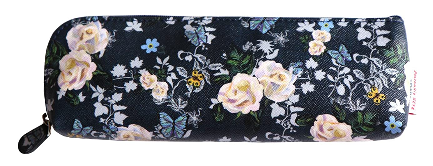 Flower Slim Pencil Pouch by Nathalie Lete Roses Navy