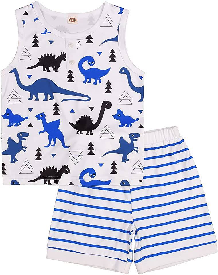 Toddler Baby Kids Boys Dinosaur Clothing Sleeveless Tank Tops and Striped Shorts Summer Outfits Set