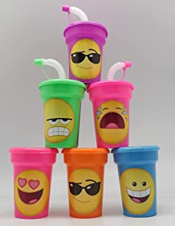 Emoji Cups 6 pack Sipper Favor Cups Birthday Party Supplies