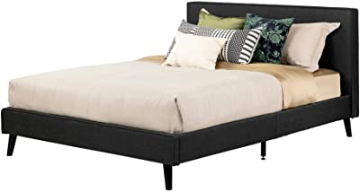 South Shore Gravity Modern Padded Upholstered Platform Bed and Headboard-Queen-Charcoal Gray