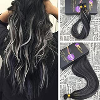 Moresoo I Tip Hair Extensions 22 inch 50strands/pack 1g/s Fusion I tip Human Hair Extensions 100% Remy Hair Balayage Colored Black and Silver I Tip Keratin Hair Glue