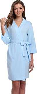 The Bund Women's Cotton Kimono Robes Soft Lightweight Bathrobe with Lace Trim