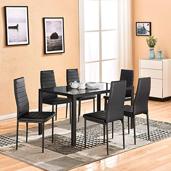 Dining Table With Chairs 4HOMART 7 PCS Glass Dining Kitchen Table Set Modern Tempered Glass Top Table And PU Leather Chairs With 6 Chairs Dining Room Furniture Black