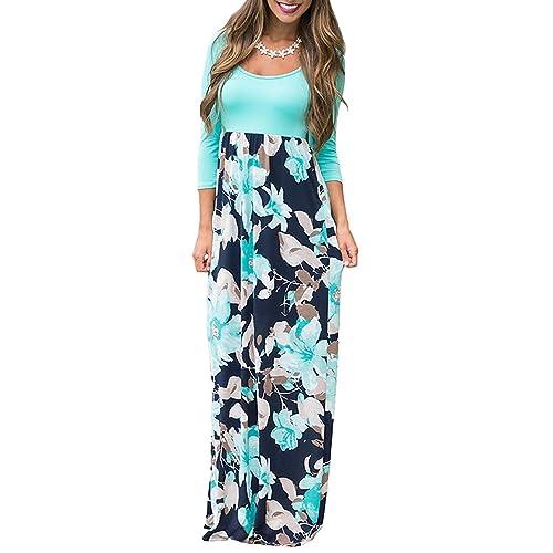 f102431471e5 Demetory Women`s Boho Summer Empire Waist Long Flowy Beach Maxi Party Dress