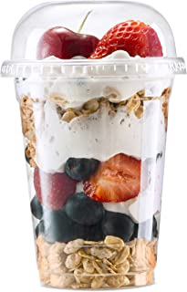 Plastic Cups with Lids by Green Direct - 8 oz. Disposable Party Cup Set for Cold Drink/Bubble Boba/Iced Coffee/Tea/Smoothi...