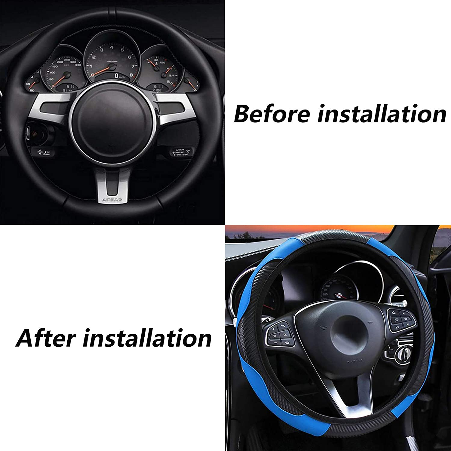 Black Carbon Fiber Sports Elastic Band Without Inner Ring Wheel Cover panthem Car Steering Wheel Cover Universal Size 37-39cm Leather Breathable Anti-Slip