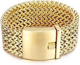 Gold Stainless Steel Biker Cuban Curb Link Chain Men's Bracelets Rock Wristband 18mm 30mm 8.26inch