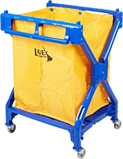 Lodging Commercial Laundry Cart/Trash Cart, 10 Bushel Folding Plastic Frame and Vinyl Bag by Tabletop King