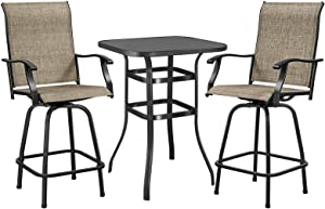 YAHEETECH 3-Piece Patio Bar Set, Outdoor Bistro Table Set High Swivel Stools Set Patio Furniture Set Dining Set, Suitable for Backyard, Lawn and Balcony