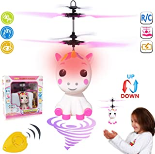 GreaSmart Unicorn Flying Ball RC Toy for Kid Girls,Inductive Flying Toys Drone Helicopter with Remote & Hand Controlled Rechargeable Flash Light Indoor Outdoor Light Up Toy Party Favors Supplies Gift
