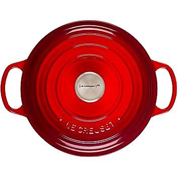 Le Creuset of America L2545-2267SS 2.75 qt. Shallow Stainless Steel Knob-Cerise Cast Iron Dutch Oven, 2.75qt
