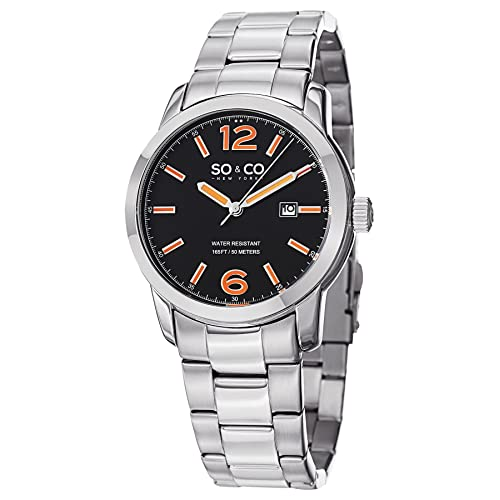 SO&CO New York Mens SoHo Quartz Metal and Stainless Steel Dress Watch, Color