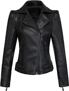 chouyatou Women's Asymmetric Zip-Up Motorcycle Cropped Pu Leather Biker Jackets