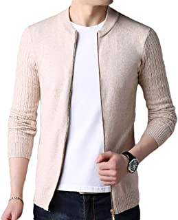 neveraway Men's Solid Long-Sleeve Stylish Slim Fit Stand Collar Knit Sweater