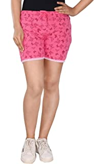 StyleAone Women's Pink Cotton Printed Shorts