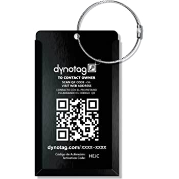 Dynotag® Web Enabled QR Smart Aluminum Convertible Luggage Tag w. Steel Loop (Black)